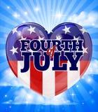 Diseño americano del corazón del Día de la Independencia Imagen de archivo