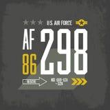 Diseño americano del vector de la impresión de la camiseta de la fuerza aérea Imágenes de archivo libres de regalías