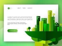Diseño amistoso de la página del aterrizaje del web del eco verde de la ciudad ilustración del vector