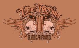 Diseño anaranjado de la camiseta de los cráneos stock de ilustración