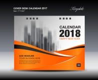 Diseño anaranjado del calendario de escritorio de la cubierta 2018, plantilla del aviador, anuncios stock de ilustración