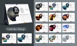 Diseño anual creativo del calendario Fotos de archivo libres de regalías