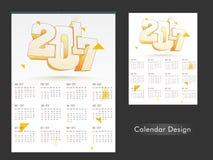Diseño anual del calendario por el Año Nuevo 2017 Foto de archivo