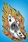 Diseño ardiente del tatuaje del as Fotografía de archivo