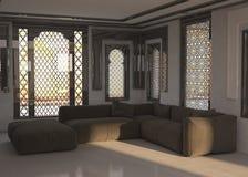 Diseño arquitectónico de la sala de estar con Gray Chairs Fotografía de archivo libre de regalías