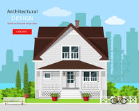 Diseño arquitectónico gráfico moderno Casa linda colorida con la yarda, el banco, los árboles, las flores y el fondo de la ciudad ilustración del vector