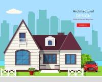 Diseño arquitectónico gráfico moderno Sistema colorido: casa, coche, yarda, flores y árboles Imagen de archivo