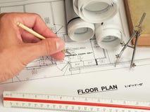 Diseño arquitectónico y herramientas Foto de archivo libre de regalías