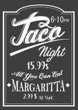 Diseño auténtico de la pizarra de las letras de noche del taco del estilo del vintage libre illustration