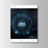 Diseño azul de la plantilla del aviador del folleto del prospecto del informe anual de la tecnología, diseño de la disposición de libre illustration