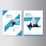 Diseño azul de la plantilla del aviador del folleto del prospecto del informe anual del vector, diseño de la disposición de la cu Fotografía de archivo