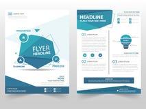Diseño azul de la plantilla del aviador del prospecto del folleto del vector del polígono, diseño de la disposición de la cubiert
