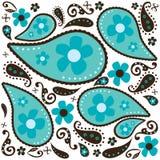 Diseño azul de Paisley stock de ilustración