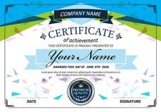 Diseño azul del ejemplo de la plantilla del diploma del certificado Foto de archivo libre de regalías
