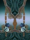 Diseño azul del estampado de animales de las flores de las rosas stock de ilustración