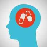 Diseño azul del icono de la cápsula de la medicina de la cabeza de la silueta Fotografía de archivo
