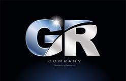 diseño azul del icono de la compañía del logotipo de GR g r de la letra del alfabeto del metal Foto de archivo