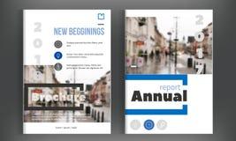 Diseño azul del informe anual Plantilla del aviador del folleto del prospecto Diseño Disposición simple de la cubierta de libro , stock de ilustración