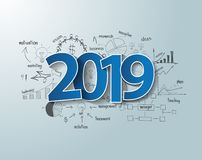Diseño azul del texto de la etiqueta 2019 de las etiquetas en cartas y gráficos del dibujo del pensamiento creativo stock de ilustración