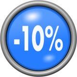 Diseño azul el 10 por ciento en el botón redondo 3D Imagen de archivo libre de regalías