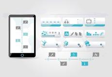 Diseño azul fijado botones del web Fotos de archivo libres de regalías