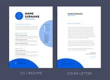 Diseño azul y papel con membrete/cov del CV de la plantilla profesional del curriculum vitae ilustración del vector