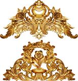Diseño barroco de oro del ornamento fotografía de archivo
