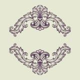 Diseño barroco del marco de la frontera del vintage del vector Foto de archivo