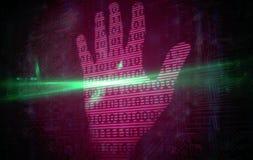 Diseño binario de la tecnología de la impresión rosada de la mano Fotografía de archivo libre de regalías