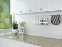 Diseño blanco de la cocina Fotos de archivo libres de regalías