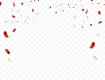Diseño blanco rojo 2019, fondo del saludo de August Happy Independence Day del concepto 17 del confeti celebración Fotografía de archivo