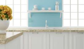 Diseño blanco y azul de la cocina Imagenes de archivo