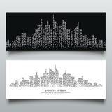 Diseño blanco y negro del punto abstracto del edificio de las banderas libre illustration