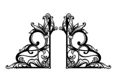 Diseño blanco y negro del vector de los remolinos florales del estilo del vintage Fotografía de archivo