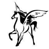 Diseño blanco y negro del vector de Pegaso Imágenes de archivo libres de regalías
