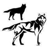 Diseño blanco y negro del vector del lobo derecho Fotos de archivo