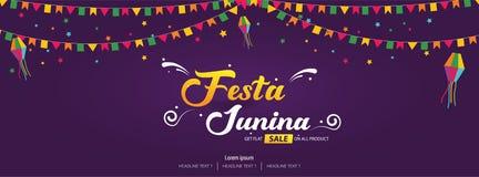 Diseño brasileño de la plantilla de la bandera de la cubierta del festival de Festa Junina stock de ilustración