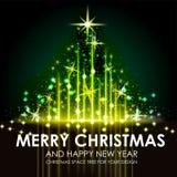 Diseño brillante del árbol de navidad del espacio del oro verde Fotos de archivo