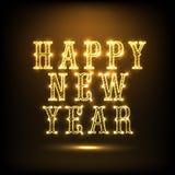 Diseño brillante del texto para la celebración 2015 de la Feliz Año Nuevo Imagenes de archivo