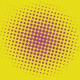 Diseño cómico de la plantilla del vector del fondo de Art Yellow Purple Violet Dots del estallido Imagen de archivo libre de regalías