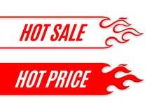 Diseño caliente de la plantilla de la voluta de la bandera de la venta con la llama stock de ilustración