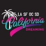Diseño caligráfico de California con la silueta de la palma Imágenes de archivo libres de regalías
