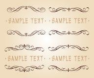 Diseño caligráfico determinado del marco del vintage Ilustración del vector Beige de Brown Fotos de archivo