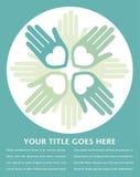 Diseño cariñoso unido colorido de las manos. Imagen de archivo libre de regalías