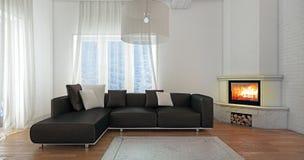 Diseño casero interior moderno con la chimenea Foto de archivo libre de regalías