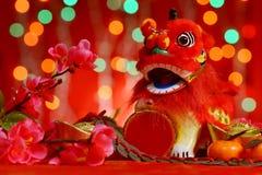 Diseño chino del Año Nuevo en fondo rojo Imagen de archivo
