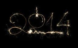 Diseño chispeante del día de fiesta del Año Nuevo 2014 en fondo negro Fotos de archivo libres de regalías