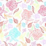 Diseño clásico dibujado mano retra de las flores hermosas del estilo con vector inconsútil del modelo del fondo brillante Imagen de archivo libre de regalías