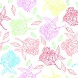 Diseño clásico dibujado mano retra de las flores hermosas del estilo con vector inconsútil del modelo del fondo brillante Imagenes de archivo