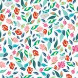 Diseño clásico dibujado mano retra de las flores hermosas del estilo con vector inconsútil del modelo del fondo brillante Foto de archivo